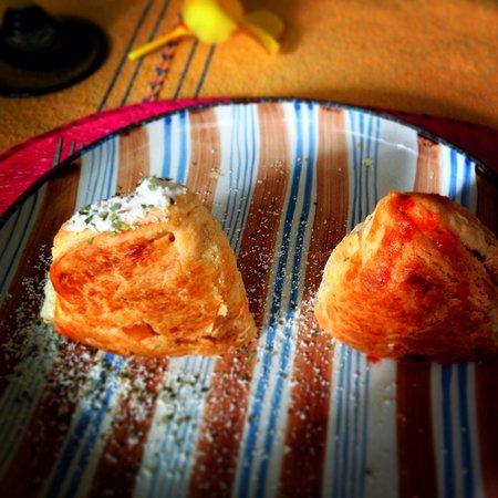 Casa Alvarada : Our empanadas representing  the fire an ice volcanos!