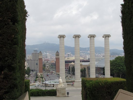Catalonia Barcelona Plaza : View From National Art Museum Barcelona