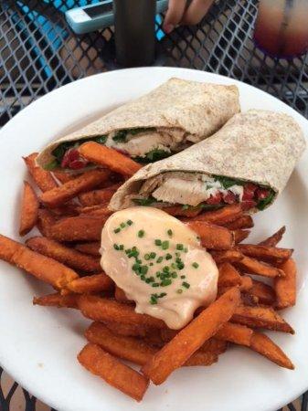 Copper Blues: Chicken Wrap with Sweet Potatoe Fries