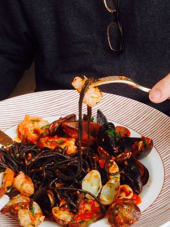 The Pink Door: Squid ink seafood pasta