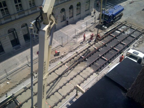 NYX Prague: New tram lines go in outside our window...