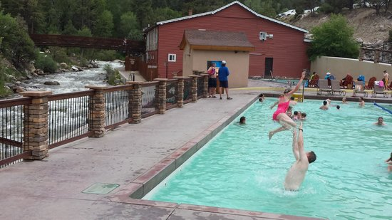Mount Princeton Historic Bath House & Hot Springs: lower pools and bath house next to creek