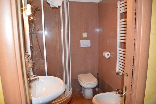Hotel Rimini : トイレ・ビデ、バスタブ無しのシャワーブース