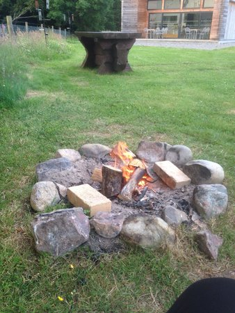 Loch Ness Shores: Pit fire outside the wigwam