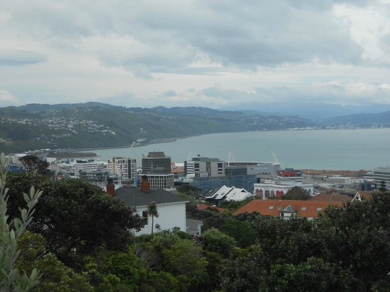 Wellington Cable Car: View of city from viewpoint at top of Cable Car