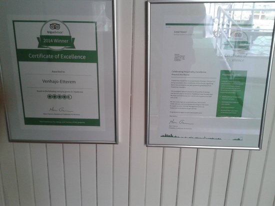 Venhajo-Etterem: Certificato Tripadvisor