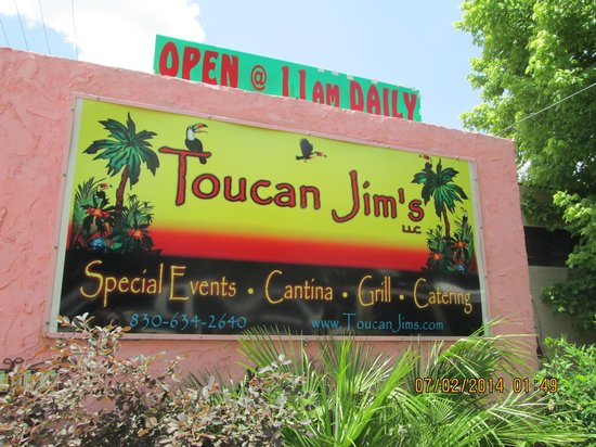 The sign at Toucan Jim's, Center Point
