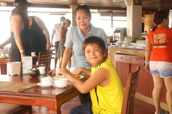 Malibu Koh Samui Resort & Beach Club: my son and Lin(restaurant staff)