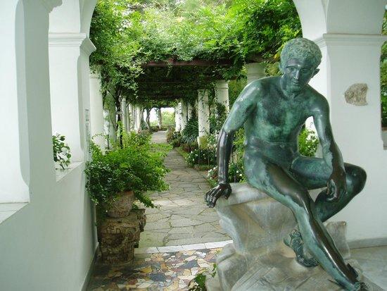 Villa San Michele : 彫刻と藤棚のテラス