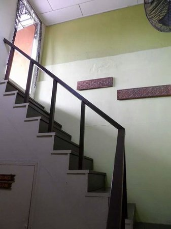 Borneo Backpackers: The stairs leading to the rooftop garden