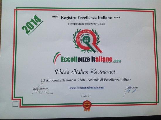 Vito's Italian Restaurant : Well deserved recognized