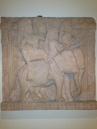 elephant relief  on wall by lift