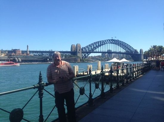 Sydney Harbour: me with the harbour bridge behind me!
