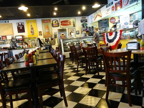 East Bay Deli: Interior view from a booth