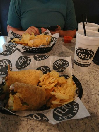 East Bay Deli: Wraps (chicken caesar & buffalo chicken), with drinks