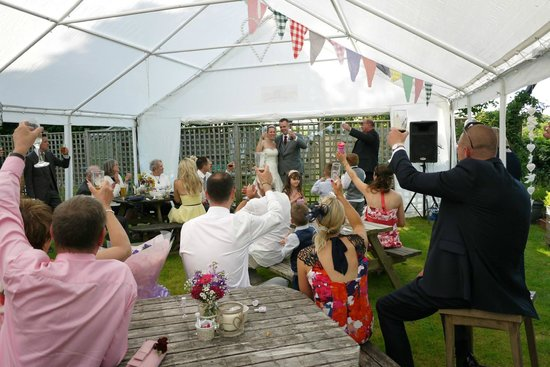 The Fur and Feathers: Wedding toast in the marquee at Fur & Feathers pub - 21st June 2014