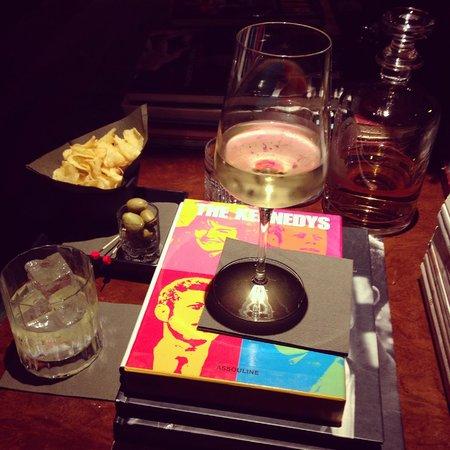 The Yard Hotel: A glass of Mumm and vodka on the rocks w/ a light aperitivo.