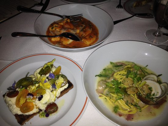FIG : Jersey Ricotta Toast, Gnocchi, & Clams with Spaghetti