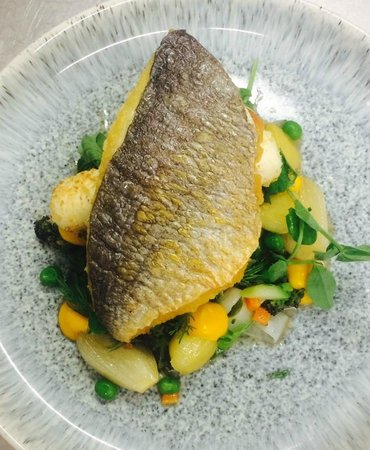 The Birch Tree: Sea Bream with a Crab Boudin, Summer Vegetable Nage