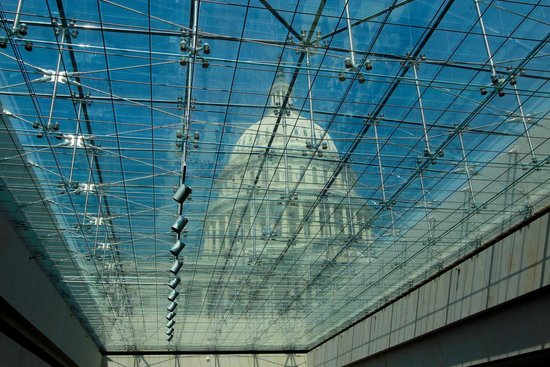 U.S. Capitol: The View From the Visitor Center up through on of the Reflecting Pools