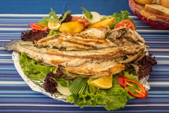 Zeytin Restaurant: Whole grilled sea bass (fish of the day special)