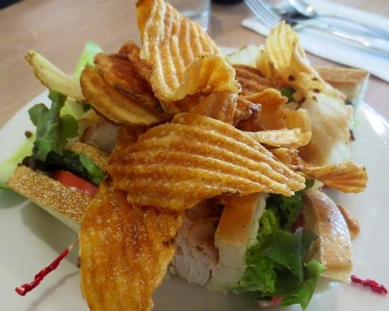 Kitchen on the Commons: Homemade chips atop turkey club