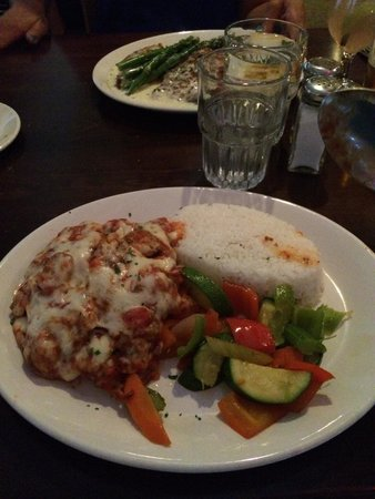 Campo Marina Italian Restaurant: Veal cutlet with vegetables and rice.