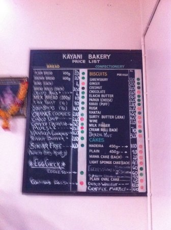 Menu List  Picture Of Kayani Bakery Pune  Tripadvisor