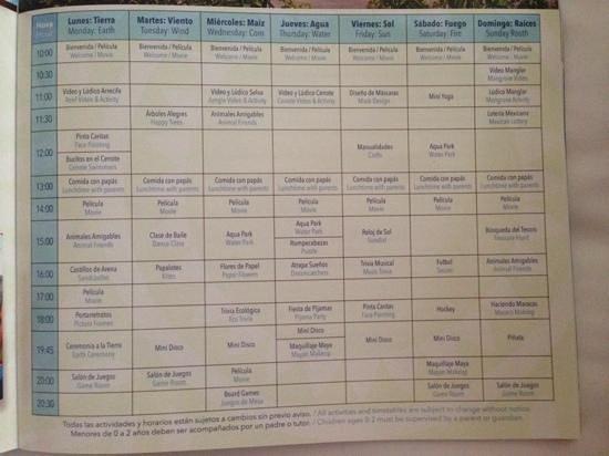 Sandos Caracol Eco Resort : activity schedule