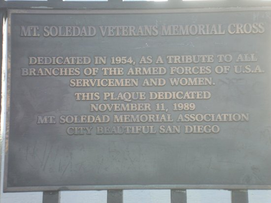 Mt. Soledad National Veterans Memorial: Memorial plaque
