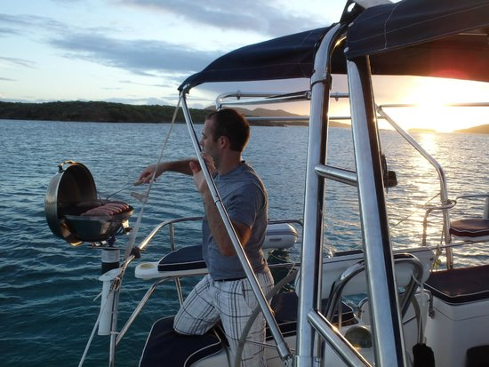 SailCaribe Yacht Charter: A little grilling off Culebrita -  an island so nice we went there twice.