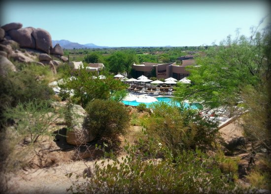 Boulders Resort & Spa, Curio Collection by Hilton: Looking down at the main pool from one of the trails.