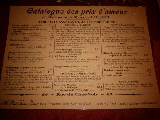 Menu Restaurant Au Petit Saint Pierre