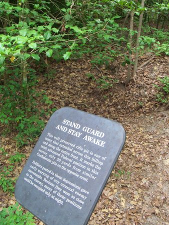 Richmond National Battlefield Park : rifle pit and marker at Cold Harbor