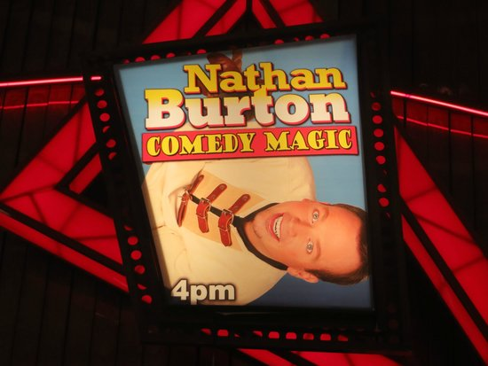 Nathan Burton Comedy Magic: Promo poster outside the theater
