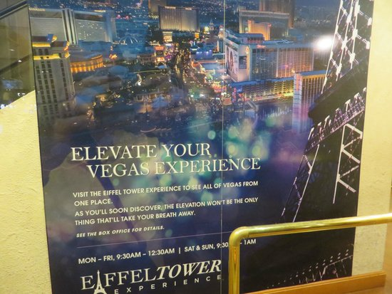Eiffel Tower Experience at Paris Las Vegas : Promotional poster outside the gift shop