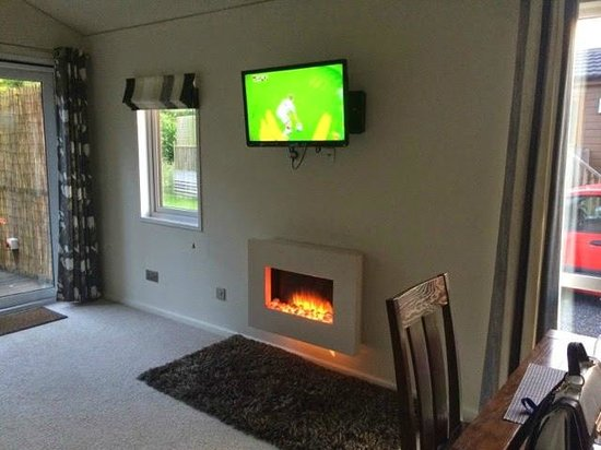Raywell Hall Country Lodge Park: Fire in living room