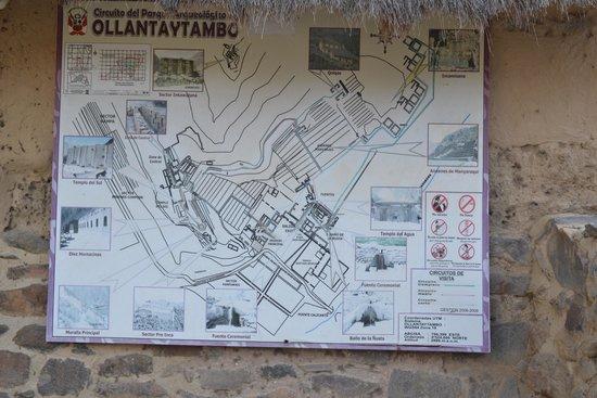 Archaeological Park Ollantaytambo: Mapa do lugar.