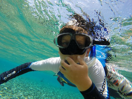 Grumpy & Happy : Sawyer loving the beautiful water of Ambergris Caye