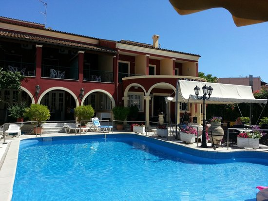 Hotel Omiros and the pool - picture taken from the bar