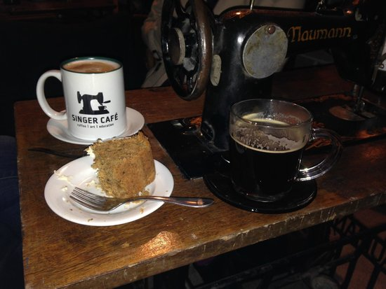 Singer Cafe: Cappuccino, cake, and Americano at Singer Cafe