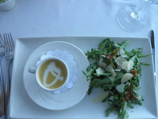 The Vineyard Rose at South Coast Winery: butternut squash soup rocket salad, blanc de noir sparkling