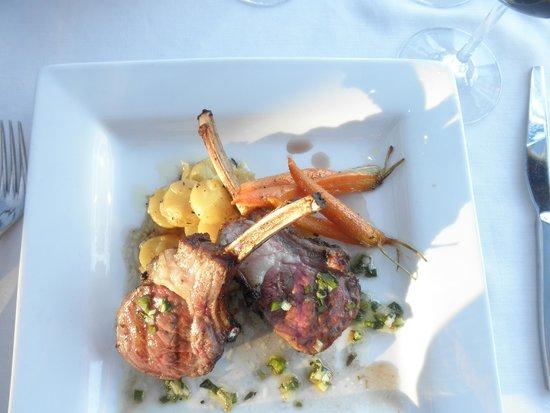The Vineyard Rose at South Coast Winery: lamb rack, fingerling potatoes,carrots ,salsa verde ,syrah