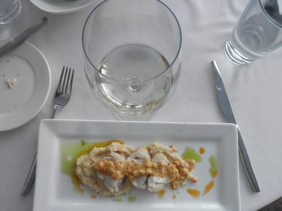 The Vineyard Rose at South Coast Winery: Monkfish,celery root,sweet corn succotash,sauv blanc