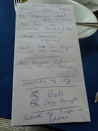 Agua Hotels Riverside: my list i took to managment
