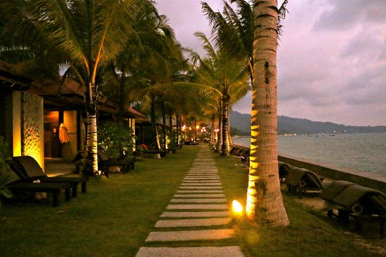 Chongfah Beach Resort: walk from sea view bungalows to main hotel area