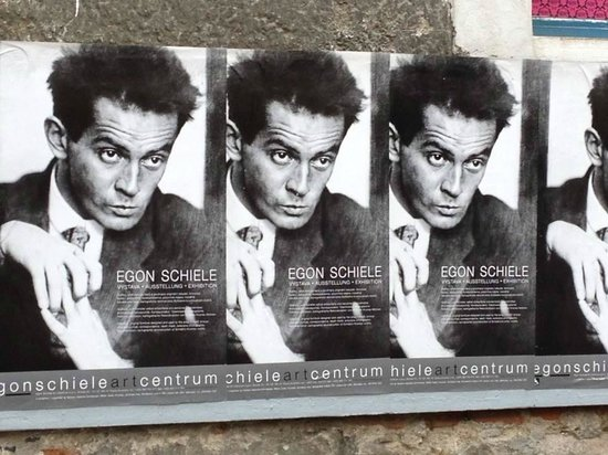 Egon Schiele Art Centre: Posters of the Egon Schiele in front of the centre.