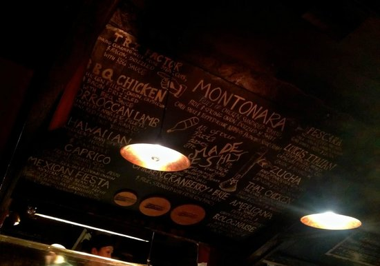 Winnies: The menu above the preparation area. Normal menus are also provided.