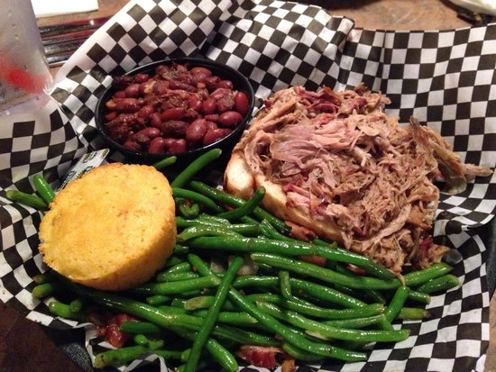 Smokin' Dave's BBQ & Tap House: Pulled pork platter w/ southern green beans, red beans and rice, corn bread
