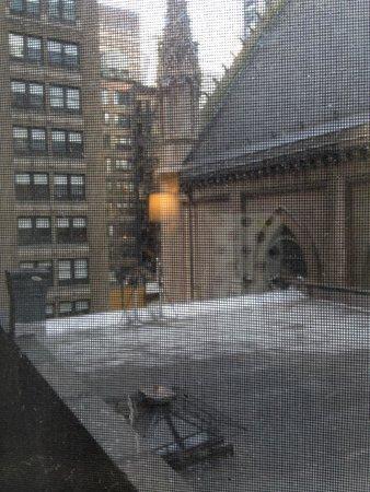 Broadway at Times Square Hotel: vista de la habitacion, tetrica, palomas muertas en el techo